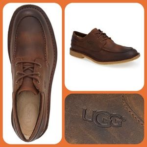•UGG• Australia Lowell Brown Leather Moc Toe Derby